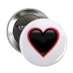 "Black Glossy Heart Anti Valentine 2.25"" Button (10"