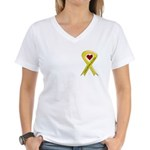 Yellow Ribbon Love Miss Soldier Women's V-Neck T