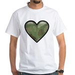 Love Military Cammo Heart White T-Shirt