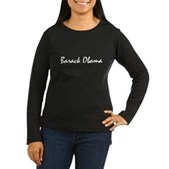 Script Barack Obama Women's Long Sleeve Dark Tee