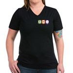 Women's V-Neck Dark T-Shirt : Sizes S,M,L,XL  Available colors: Black,Heather Grey