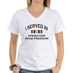 I served OIF medal Women's V-Neck T-Shirt
