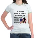 Praying for my Soldier Son Jr. Ringer T-Shirt