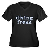 Diving Freak Women's Plus Size V-Neck Dark T-Shirt