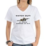 Watch Out! Military Uncle M-4 Women's V-Neck T-Shi