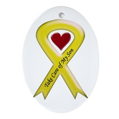 Take Care of my Son Yellow Ribbon Ornament (Oval)