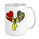 2 Hearts Military Yellow Ribbon Large Mug