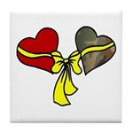 2 Hearts Military Yellow Ribbon Tile Coaster