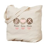 Peace Love Cure Pink Ribbon Tote Bag