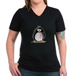Breast Cancer penguin Women's V-Neck Dark T-Shirt