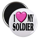 "I Love (pink heart) My Soldier 2.25"" Magnet (10 pa"