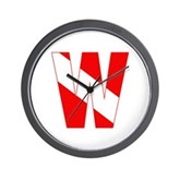 Scuba Flag Letter W Wall Clock