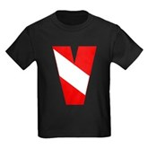Scuba Flag Letter V Kids Dark T-Shirt
