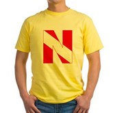 Scuba Flag Letter N Yellow T-Shirt