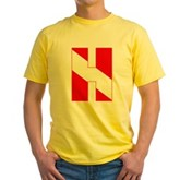 Scuba Flag Letter H Yellow T-Shirt
