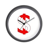 Scuba Flag Dollar Sign Wall Clock