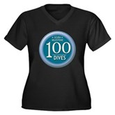 100 Dives Women's Plus Size V-Neck Dark T-Shirt