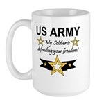 Army My Soldier is defending Large Mug