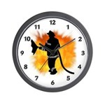 Firefighter Flames Wall Clock
