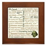 Shakespeare Insults T-shirts & Gifts Framed Tile