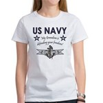 Navy Grandson defending Women's T-Shirt