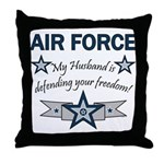 Husband Defending Freedom AF Throw Pillow