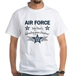 Air Force Dad defending White T-Shirt