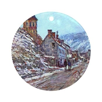 Road to Vetheuil by Monet Round Ornament