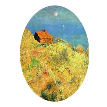 Hut of Douaniers by Monet Oval Ornament