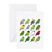 16 Birdorable Parrots Greeting Card