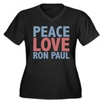 Peace Love Ron Paul Women's Plus Size V-Neck Dark