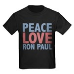 Peace Love Ron Paul Kids Dark T-Shirt
