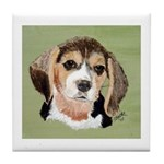 Beagle Tile Coaster (green w/white border)