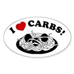 I Love Carbs! Oval Sticker
