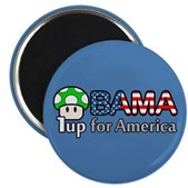 Support Barack Obama for President 2008 & give America a green mushroom to power-up! This cute Obama design is great for video game enthusiasts who support Obama. A vote for Obama = 1up for America!