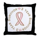 3 Year Breast Cancer Survivor Throw Pillow