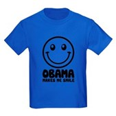 Obama Makes Me Smile Kids Dark T-Shirt