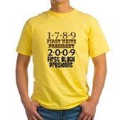 Presidential Firsts: 1789-2009 Yellow T-Shirt