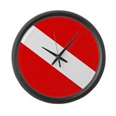 Scuba Flag (plain) Large Wall Clock
