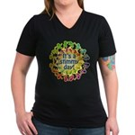 Stimmy Day Women's V-Neck Dark T-Shirt
