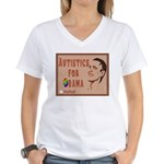 Autistics for Obama Women's V-Neck T-Shirt