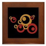 Retro Orange Circles Framed Tile