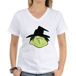 Happy Green Witch Women's V-Neck T-Shirt