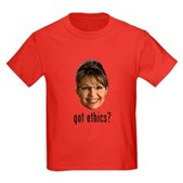Anti-Palin Got Ethics? Kids Dark T-Shirt