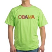 Obama Flowers Green T-Shirt