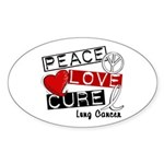 PEACE LOVE CURE Lung Cancer Sticker (Oval)
