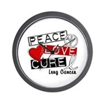 PEACE LOVE CURE Lung Cancer Wall Clock