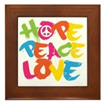 Hope Peace Love Framed Tile