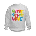 Hope Peace Love Kids Sweatshirt