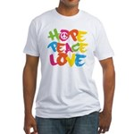 Hope Peace Love Fitted T-Shirt